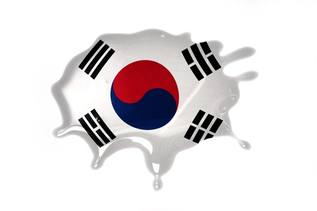 blot with national flag of south korea on the white background