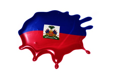 port au prince: blot with national flag of haiti on the white background