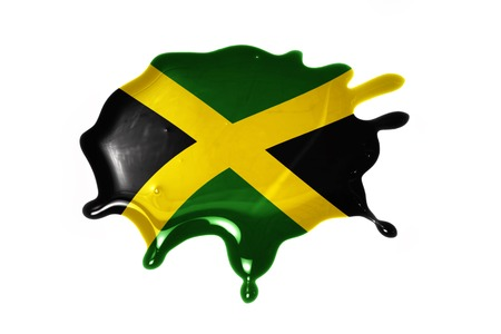 jamaica: blot with national flag of jamaica on the white background