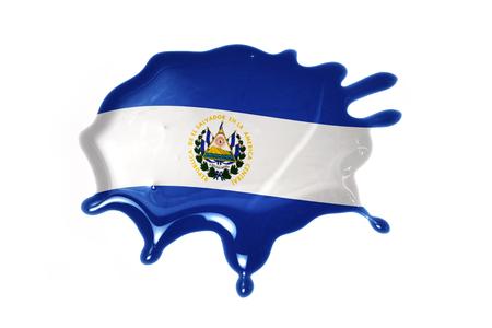 bandera de el salvador: seque con la bandera nacional de El Salvador en el fondo blanco
