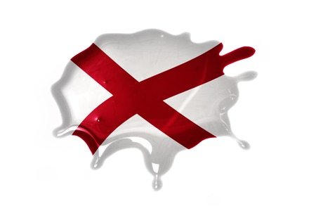 liquid state: blot with alabama state flag on the white background.3D illustration