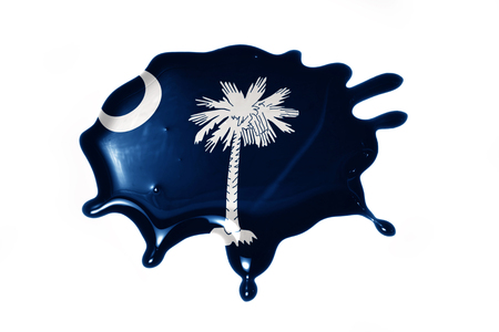 blot with south carolina state flag on the white background.3D illustration Stok Fotoğraf