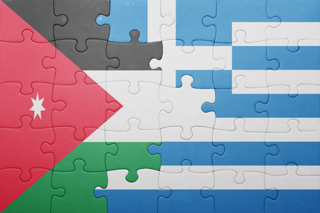 territories: puzzle with the national flag of jordan and greece . concept