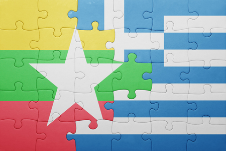 territories: puzzle with the national flag of myanmar and greece . concept Stock Photo