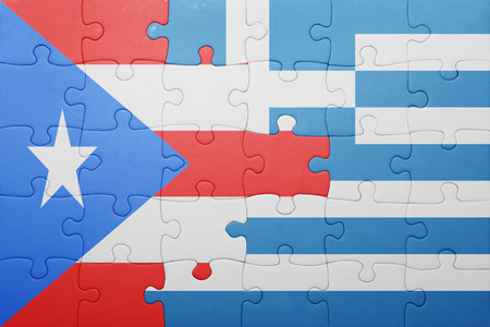 bandera de puerto rico: puzzle with the national flag of puerto rico and greece . concept