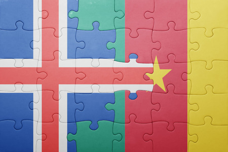 the icelandic flag: puzzle with the national flag of iceland and cameroon . concept