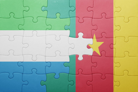 sierra leone: puzzle with the national flag of sierra leone and cameroon . concept Stock Photo