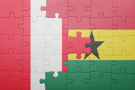lima region: puzzle with the national flag of ghana and  peru. concept Stock Photo