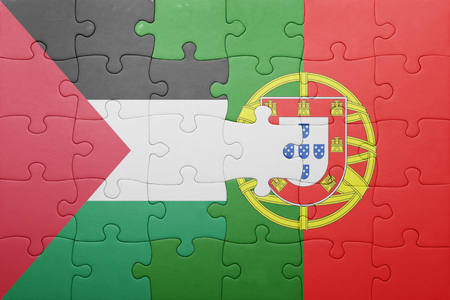 palestine: puzzle with the national flag of portugal and palestine . concept