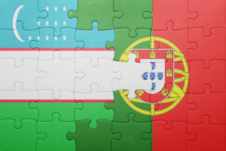 uzbek: puzzle with the national flag of portugal and uzbekistan . concept Stock Photo