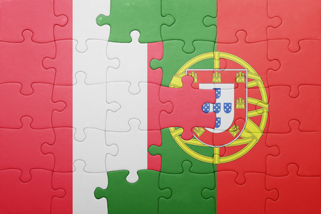 lima region: puzzle with the national flag of portugal and peru . concept Stock Photo