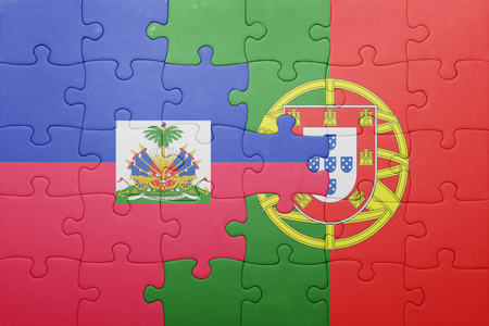 port au prince: puzzle with the national flag of portugal and haiti . concept