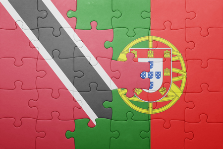 national flag trinidad and tobago: puzzle with the national flag of portugal and  trinidad and tobago. concept Stock Photo