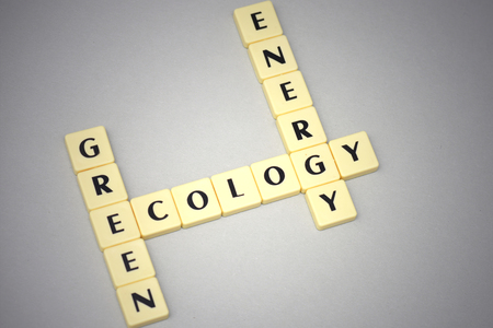 erudition: words green, ecology and energy on a gray background. concept Stock Photo