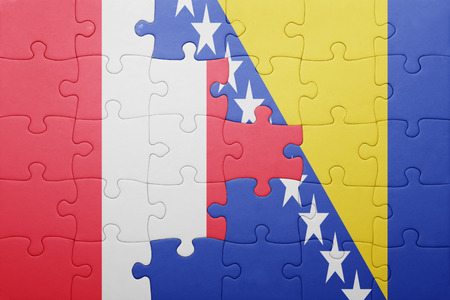 lima region: puzzle with the national flag of bosnia and herzegovina and peru . concept