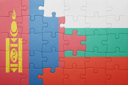 puzzle with the national flag of mongolia and bulgaria . concept