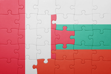 lima region: puzzle with the national flag of peru and bulgaria . concept