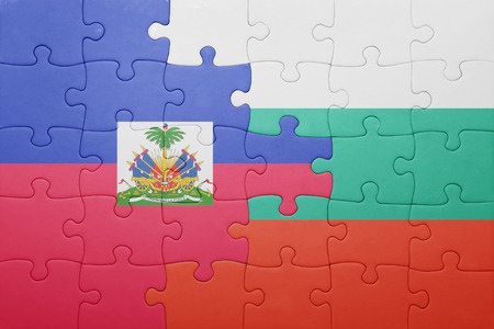port au prince: puzzle with the national flag of haiti and bulgaria . concept