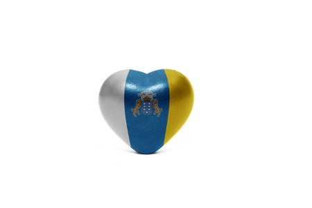 canarian: heart with national flag of canary islands on the white background Stock Photo