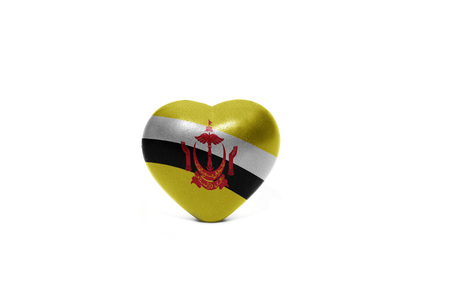 middle east peace: heart with national flag of brunei on the white background Stock Photo