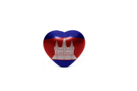middle east peace: heart with national flag of cambodia on the white background