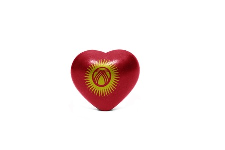 middle east peace: heart with national flag of kyrgyzstan on the white background Stock Photo