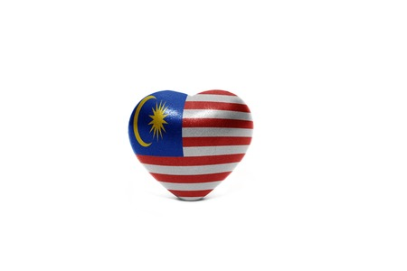 heart with national flag of malaysia on the white background