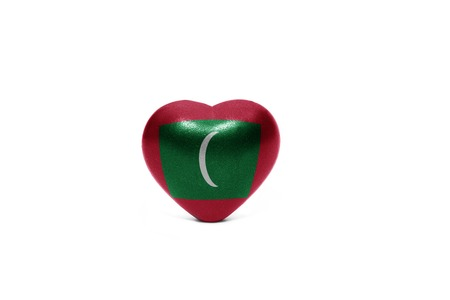 middle east peace: heart with national flag of maldives on the white background