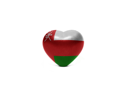oman background: heart with national flag of oman on the white background