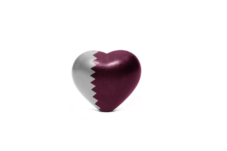 middle east peace: heart with national flag of qatar on the white background