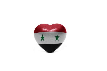 middle east peace: heart with national flag of syria on the white background