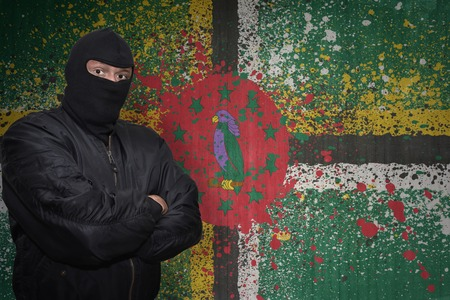dangerous man: dangerous man in a mask standing near a wall with painted national flag of dominica Stock Photo