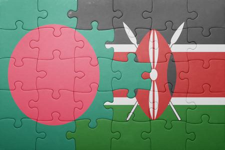 national flag bangladesh: puzzle with the national flag of kenya and bangladesh.