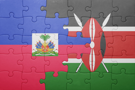 port au prince: puzzle with the national flag of kenya and haiti. Stock Photo