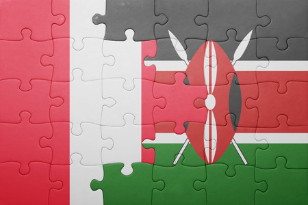 lima region: puzzle with the national flag of kenya and peru.