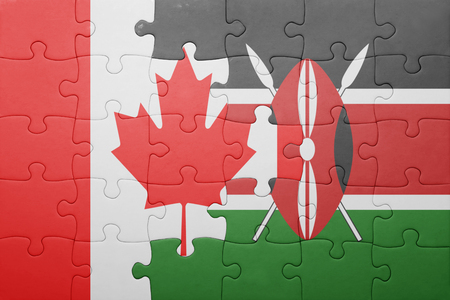 north american: puzzle with the national flag of kenya and canada.