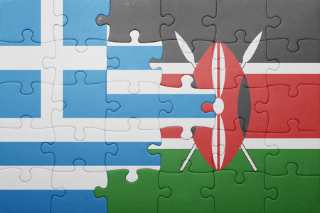 nairobi: puzzle with the national flag of kenya and greece.