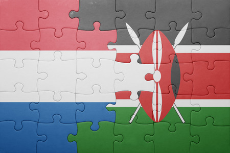 nairobi: puzzle with the national flag of kenya and netherlands. Stock Photo