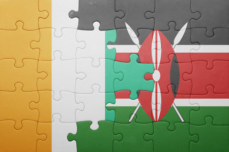 cote: puzzle with the national flag of kenya and cote divoire.