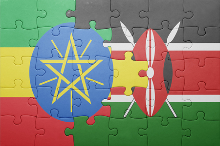 nairobi: puzzle with the national flag of kenya and ethiopia.