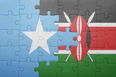 somali: puzzle with the national flag of kenya and somalia.