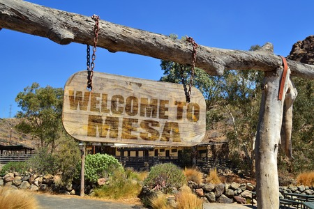 old wood signboard with text  welcome to Mesa hanging on a branch Stock Photo