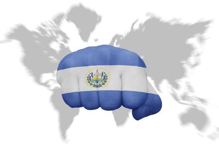mapa de el salvador: pu�o con la bandera nacional de El Salvador en un mapa del mundo de fondo