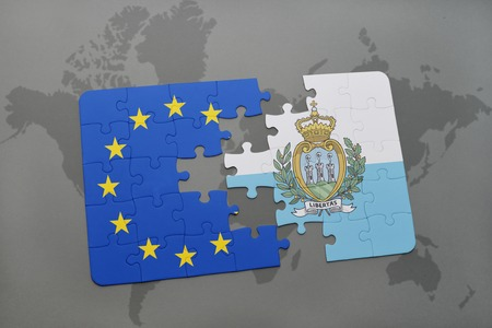 european: puzzle with the national flag of san marino and european union on a world map background.