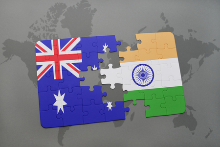 Puzzle with the national flag of australia and india on a world puzzle with the national flag of australia and india on a world map background3d gumiabroncs Gallery