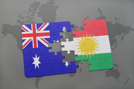 separatism: puzzle with the national flag of australia and kurdistan on a world map background.3D illustration