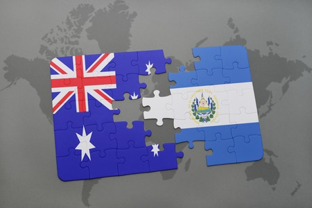 mapa de el salvador: puzzle with the national flag of australia and el salvador on a world map background.3D illustration