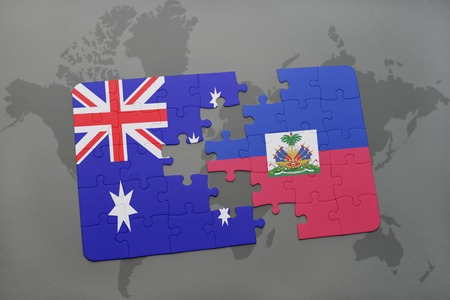 port au prince: puzzle with the national flag of australia and haiti on a world map background.3D illustration