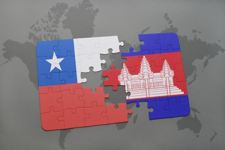 separatism: puzzle with the national flag of chile and cambodia on a world map background. 3D illustration