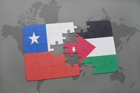 middle east crisis: puzzle with the national flag of chile and jordan on a world map background. 3D illustration